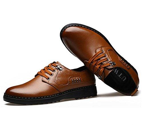 GRRONG Chaussures En Cuir Pour Homme En Cuir Véritable Entreprise De Loisirs Noir Brun brown