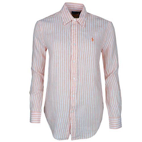 Ralph Lauren Damen Hemd Orange gestreift weiß Logo lässig aus Leinen Gr. Small, Orange