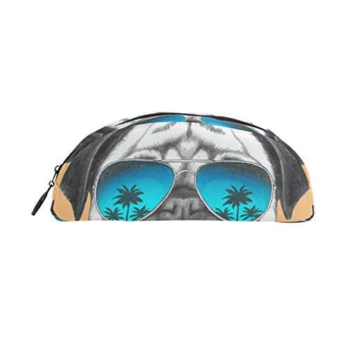 Lustige Mops Hund mit Sonnenbrille, Federmäppchen, Tasche mit Reißverschluss, kleine Make-up-Tasche für Kinder, Jungen, Mädchen, Schule