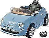 MamaLoes Eco Toys Fiat 500 Kinderelektroauto 2 Sitzer, elektrisches Kinderauto, Kinderfahrzeug, blau, mit Fernbedienung