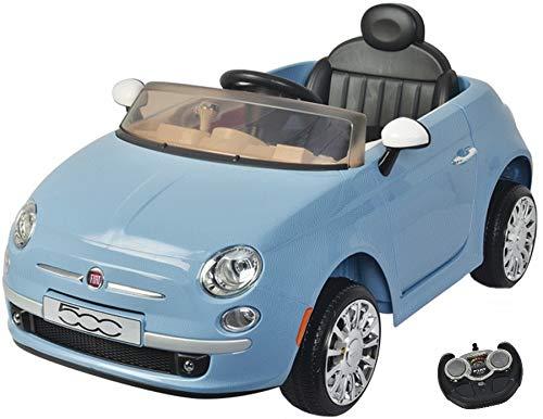 Eco Toys MamaLoes FIAT 500 Kinderelektroauto mit Fernbedienung, 2 Sitzer, blau 651R