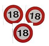 3 Stück Aufkleber Sticker 18 Verkehrsschild 9 cm Partydeko Geburtstag
