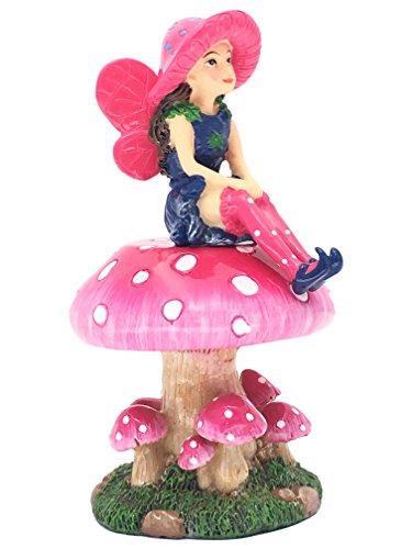 Mimi die Miniaturfee mit abnehmbarem Feenständer in Pilzform für Ihren Feengarten / Miniaturgarten