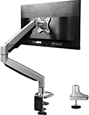 Single Arm Monitor Stand - Premium Aluminum Gas Spring Monitor Desk Mount, Adjustable Computer Riser with Clam