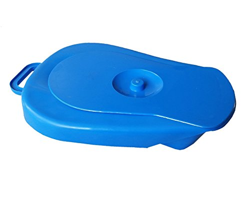 High Quality Adult Bed Pan with cover -- Polypropylene -- Blue color -- with warranty