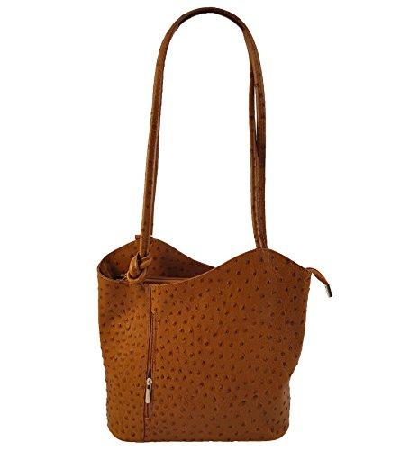 Freyday 2 in 1 Handtasche Rucksack Designer Luxus Henkeltasche aus Echtleder in versch. Designs (Strauß Cognac)