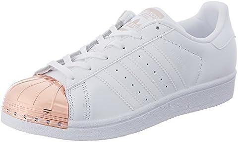 adidas Damen Superstar Metal Toe Sneaker, Weiß (Ftwwht/Ftwwht/Coppmt), 40 2/3 EU