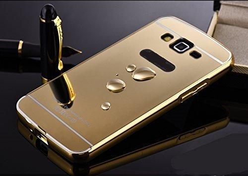 CHL Metal Bumper Acrylic Mirror Back Cover Case For SAMSUNG G360 Galaxy Core Prime - GOLD