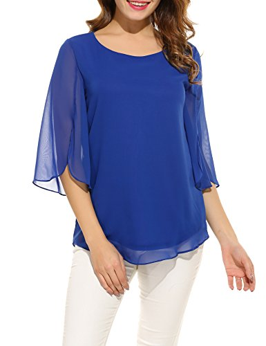 ACEVOG Women's Casual Chiffon Blouse Scoop Neck 3/4 Sleeve Top Shirts