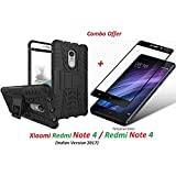 FFADU ENGINEER Xiaomi Redmi Note 4 / Redmi Note 4 / Mi Redmi Note 4 (COMBO OFFER) Hybrid Armor Design Detachable And Stand-up Feature Dual Layer Protective Shell Hard Back Cover Case For Redmi Note 4 + 2.5D Curved 3D Edge To Edge Full Screen Tempered Glas