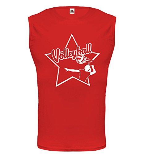 buXsbaum® Tank Top Volleyball-Signet Red-White