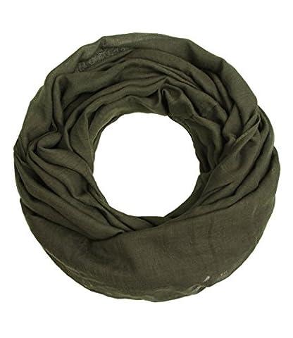 """Majea Loop """"Cary"""" Basic Schal Tuch Damen-schal Schlauchschal Rundschal Halstücher uni unifarben Loopschal einfarbig (dark olive 1)"""