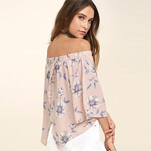 Maglietta a maniche con chiusura lampo Vovotrade Fuori dalla camicetta di stampa floreale della spalla le parti superiori Rosa