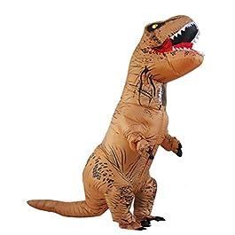 Halloween per adulti gonfiabile T Rex partito dinosauro costume divertente Dress Brown con zaino e cavo USB