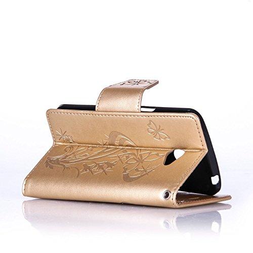 Custodia LG K5 ISAKEN Cover LG K5 con Strap, Elegante borsa Dente di leone Design in Pelle Sintetica Ecopelle PU Case Cover Protettiva Flip Portafoglio Case Cover Protezione Caso con Supporto di Stand Diamnate farfalle : gold