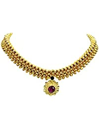 Shree Mauli Creation Golden Alloy Golden Beads Pink Pendant Thushi Necklace For Women SMCT15