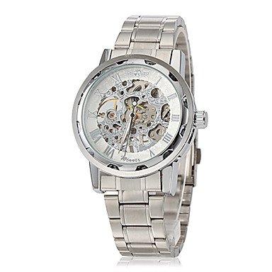 Schöne Uhren, Elegante Skelett hohlen Zifferblatt silber Stahlband mechanische Handaufzug Armbanduhr Herren (verschiedene Farben) ( Farbe : Blau , Großauswahl : Einheitsgröße )