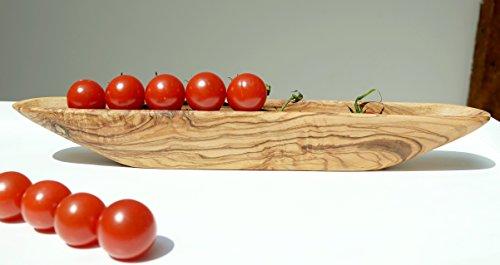 Olivenholz Olivenboot. Olivenschale OLEA. Holzschale für Oliven, Tomaten und anderes Kleingemüse :) 33 x 4,5 x 4,5 cm. Original Figura Santa Qualität!
