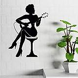 Crjzty Bar Décoration Femme Jouer Guitare Silhouette Autocollant Mural Musique Style Art Stickers Muraux Accueil Guitare Art VinylePapier Peint 42x57cm...