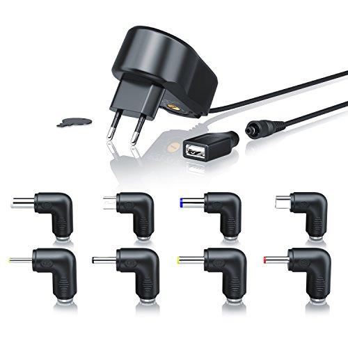 CSL - Universal Power Netzteil | Universal Ladegerät | 9 Verschiedene Adapter-Aufsätze inkl. USB, Mini und microUSB | 5-15V DC (frei wählbar) | Schutz vor Überlast, Überspannung und Kurzschluss | -