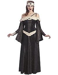 Costume de luxe de dame médiévale robe avec fourrure pour dame brun doré