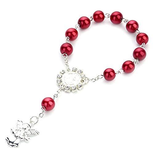 Angel Heart Armband Baby-Taufe Wulstige Kreuz-Armband für religiöse Hochzeitszubehör (Rot, 1 PC)