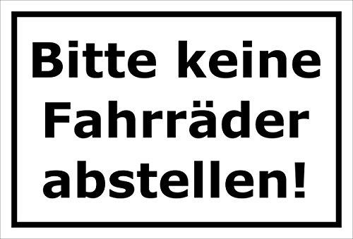 Melis Folienwerkstatt Schild - Fahrräder abstellen - 30x20cm   3mm Hartschaum - S00050-043-A -20 Varianten