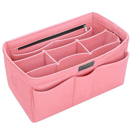 Rosa Tasche Organizer (Ropch Taschenorganizer für Handtaschen, Filz Handtaschen Organizer Bag in Bag Innentaschen Handtaschenordner Organizer für Frauen, Rosa - L)