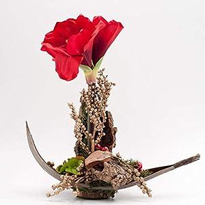 Weihnachtliches Tischgesteck mit roter Amaryllis,Herz+Cocosblatt-Tischdeko mit künstl.Blumen