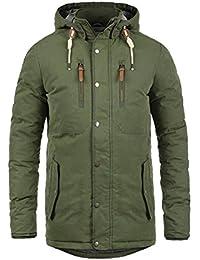 SOLID Dry Jacque Herren Parka lange Winterjacke Mantel mit Kapuze aus hochwertiger Baumwollmischung