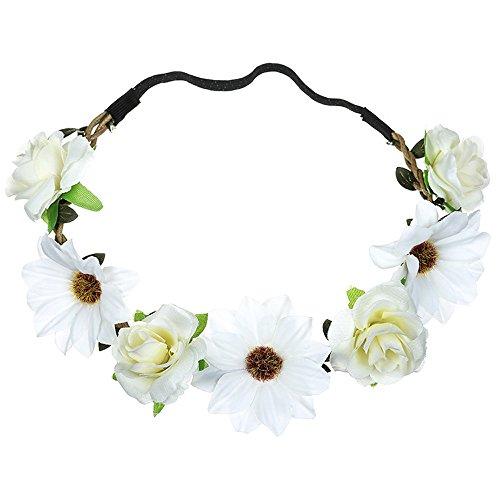 Dicomi Damen Haarband Haarschmuck Haarband Frauen Sonnenblumen Rosen Fresh Flower Portrait Foto Holiday Wedding Band Weiß