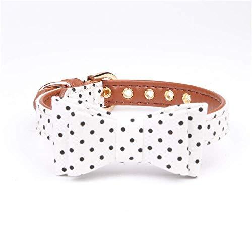 Klassische Halsbänder Klassische Halsbänder Haustier Hund Katze Tupfen Verstellbarer Kragen Pu Leder Fliege Hund New Weiß (Color : 1.3 41cm, Size : -) -