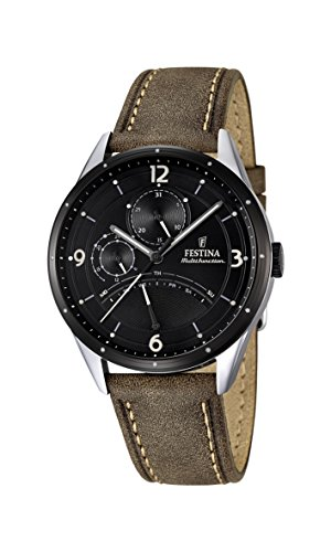 Festina Men's Quartz Watch with Black Dial Analogue Display and Brown Leather Strap F16848/1