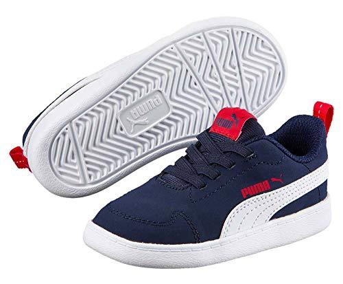Puma Court Flex PS Schuhe Kinder Marine-weiß Peacoat-Puma White, 31 (UK 12K) -
