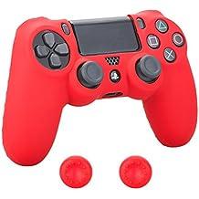 Pandaren Cubierta agarre piel de silicona suave protector para PS4 prevenir golpes y arañazos (rojo) + pulgar tapa palo agarre x 2