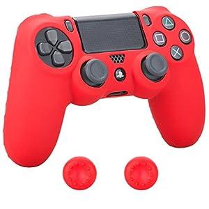 Pandaren® Silikon hülle skin Schutzhülle für PS4 controller (rot) x 1 + thumb grip aufsätze x 2