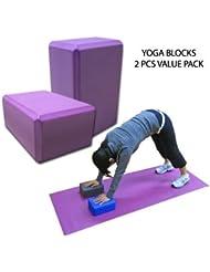 FamilyMall - Juego de 2 ladrillos de espuma para ejercicios de pilates (auxiliar de estiramientos), color morado