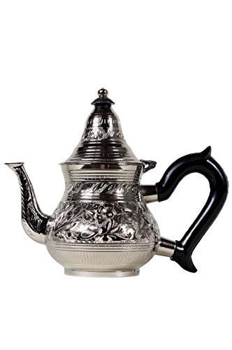 Marokkanische Teekanne aus Messing versilbert 0,4l mit Sieb und Kunststoffgriff   Orientalische...