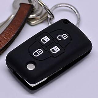 Soft Case Schutz Hülle Auto Schlüssel Peugeot Ranch Partner 807 1007 Citroen C4 C8 Klappschlüssel Flip Key/Farbe Schwarz