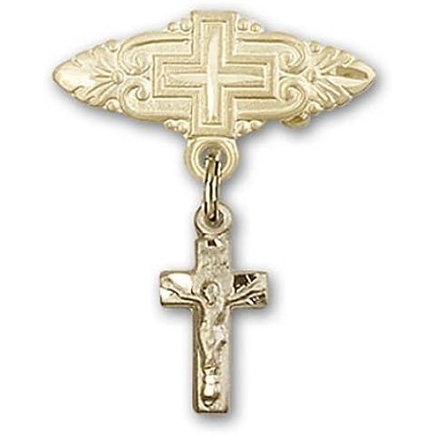 Icecarats Diseñador De Joyas De Oro Crucifijo Lleno Pin Insignia Encanto Con La Cruz De 7/8 X 3/4