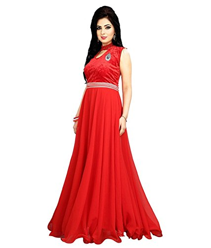 Mk Enterprise Women\'s Gown (Gown_15_Red_Free Size)