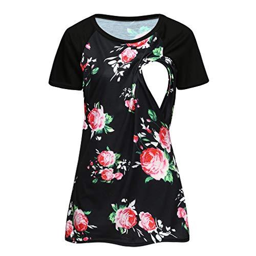 Damen Mutterschaft T-Shirt Sommer Kurzarm Umstandsmode Print Umstandsshirt 2in1 Stillshirt & Umstandsshirt Stillzeit Umstandskleid (M, Schwarz) -