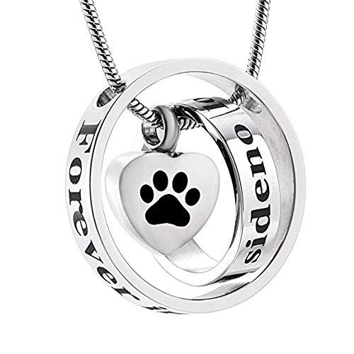 QHYQYN Für Immer In Meinem Herzen Urne Anhänger Charme Hund Pfotenabdruck Feuerbestattung Memorial Asche Halskette Für Haustier -