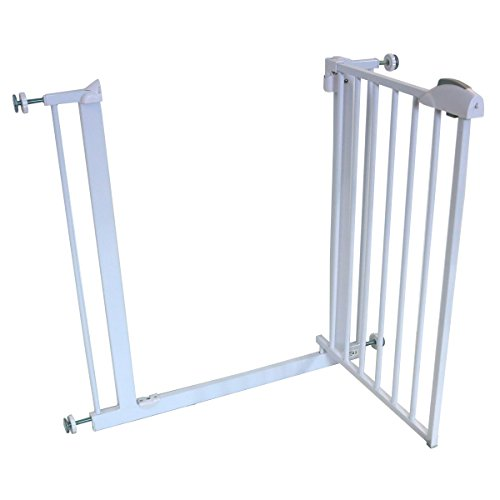 iSafe DeLuxe Stair Gate 90° STOP OPEN amp; Auto-Close StairGate - White 75-85 cm