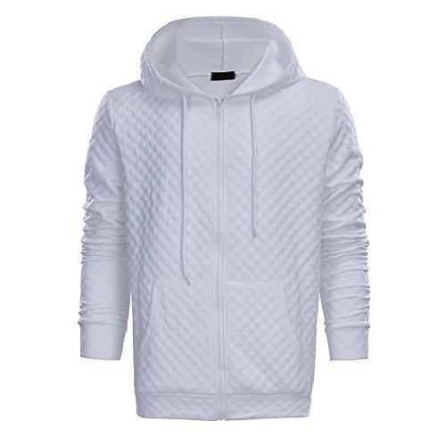 M?nner Quadrat Quilted Hoodie Zip Up Pullover Drawstring Sweatshirt Tasche Wei? (Anzug Hässliche Pullover)