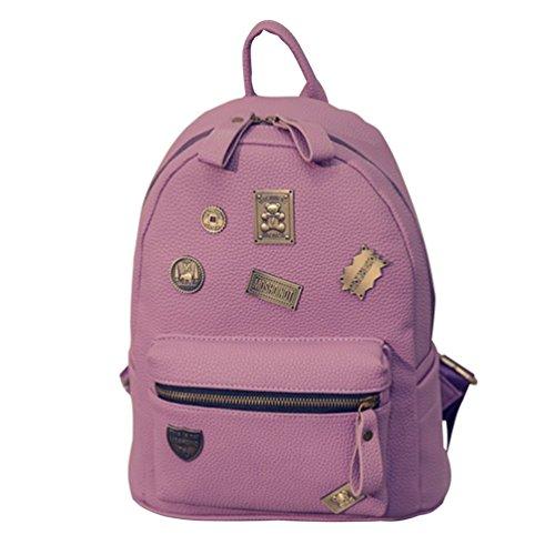Baymate Damen Einfach Straße Rucksack Abzeichen Schulrucksäcke Daypacks Lila