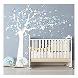 Sayala Baum Wandtattoo,Sakura Blumen Baum & Vögeln Wandaufkleber Deko für Wohnzimmer Schlafzimmer Kinderzimmer,Babyzimmer Entfernbare Wandtattoo Wandbilder,Blau