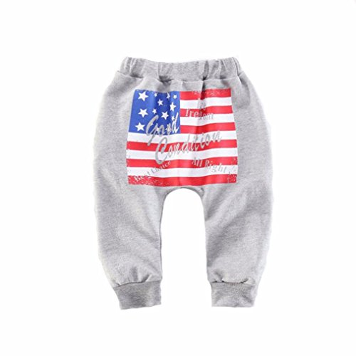 Koly_Ragazzi American Flag modello Harlan pantaloni pantaloni casual (3, Grigio)