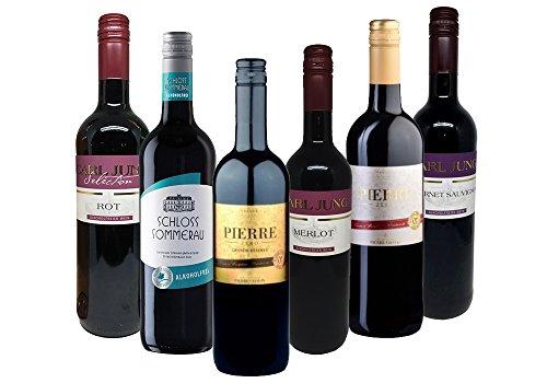 Alkoholfreies Weinpaket - Rotwein Pierre Zero, Carl Jung, Schloss Sommerau - Merlot, Cabernet Sauvignon - Weine aus Deutschland & Frankreich (6x0,75l) - alkoholfreier-wein.com
