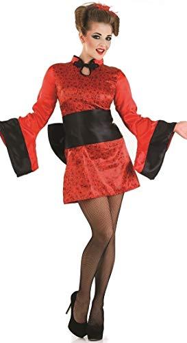 Japanische Geisha Kostüm Mädchen - Fancy Me Damen rote/schwarz sexy japanisch Geisha Mädchen ORIENTALISCH CHINESISCH Kimono Party Kostüm Outfit - Rot, UK 16-18
